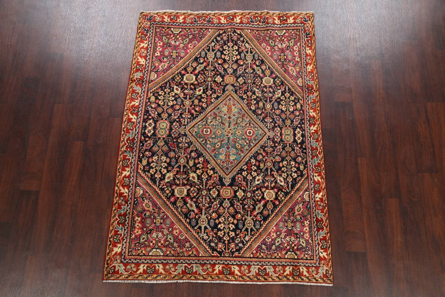 100% Vegetable Dye Antique Sultanabad Persian Area Rug 4x6 image 2