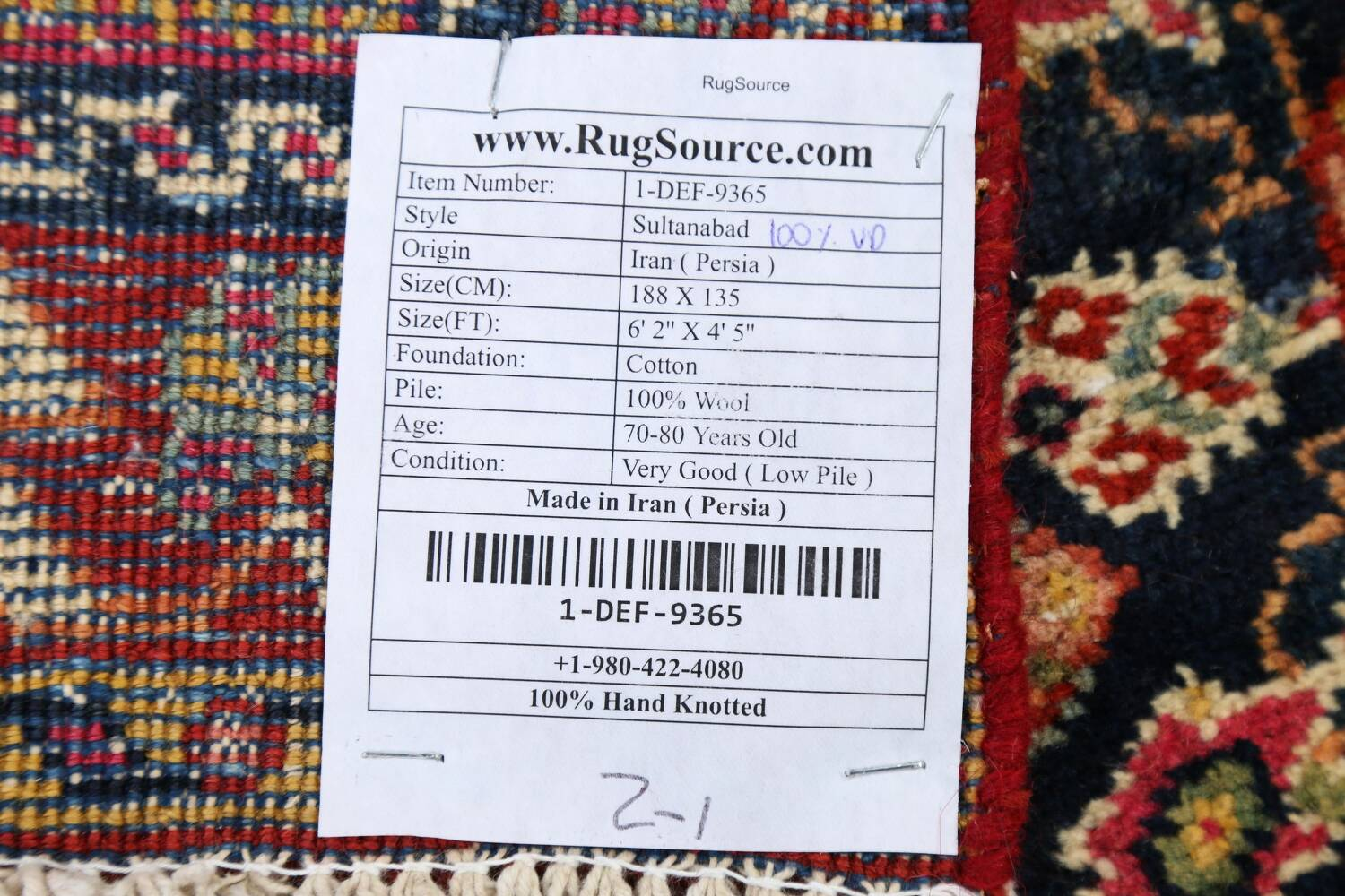 100% Vegetable Dye Antique Sultanabad Persian Area Rug 4x6 image 23