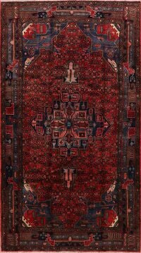 Geometric Red Hamedan Persian Area Rug 5x9
