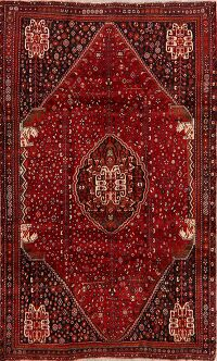 Vintage Geometric Red Malayer Persian Area Rug 5x9