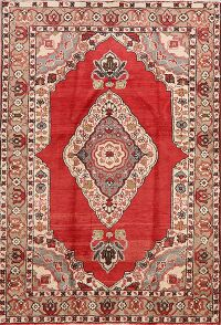 Geometric Red Mahal Persian Area Rug 5x7