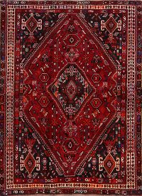 Vintage Geometric Red Abadeh Persian Area Rug 4x6
