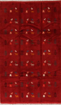 All-Over Tribal Red Gabbeh Persian Area Rug 5x7