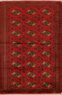All-Over Geometric Bokhara Oriental Red Area Rug 4x6