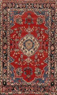 Vintage Floral Red Malayer Persian Area Rug 4x7