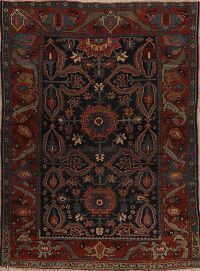 Pre-1900 Antique Navy Bidjar Halvaie Persian Area Rug 5x7