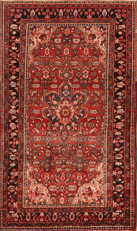 Geometric Red Mahal Persian Area Rug 4x7