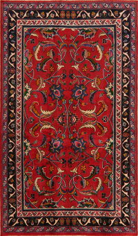All-Over Red Floral Sultanabad Persian Area Rug 4x7