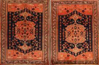 Set of 2 Vintage Vegetable Dye Bidjar Persian Area Rugs 5x6