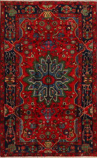 Geometric Red Nahavand Persian Area Rug 4x7