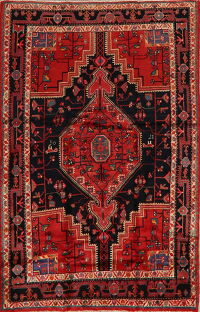 Geometric Red Nahavand Persian Area Rug 5x7