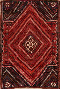 Antique Geometric Red Lori Persian Area Rug 5x7
