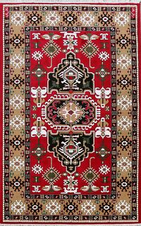 Geometric Kazak Turkish Red Area Rug 7x10