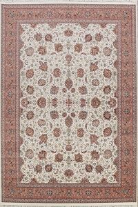 Floral Ivory Kashan Turkish Area Rug 8x11