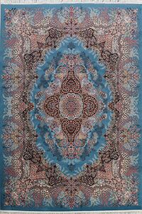 Blue Floral Tabriz Turkish Area Rug 8x11