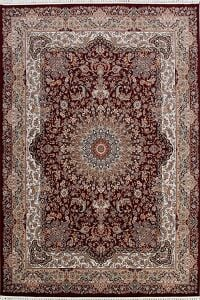 Burgundy Floral Tabriz Turkish Area Rug 8x11