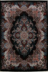 Black Floral Tabriz Turkish Area Rug 8x12