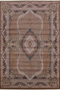 Brown Geometric Tabriz Turkish Area Rug 8x12