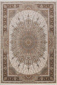 Ivory Geometric Tabriz Turkish Area Rug 8x11