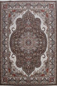 Brown Floral Tabriz Turkish Area Rug 8x11