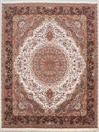 Floral Tabriz Turkish Ivory Area Rug 10x10 Square
