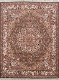 Floral Tabriz Turkish Brown Area Rug 8x10