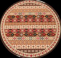 Round Geometric Oushak Turkish Oriental Area Rug 7x7