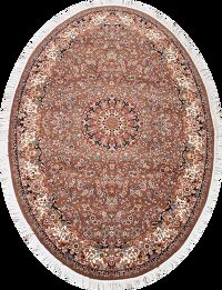 Brown Floral Tabriz 5x7 Oval Area Rug