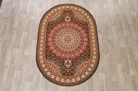 Brown Geometric Aubusson Oriental Area Rug 5x7 Oval