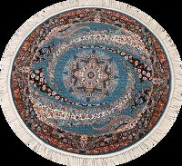 Light Blue Floral Round Tabriz Turkish Area Rug 5x5