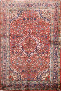 Floral Red Kashan Persian Area Rug 3x5