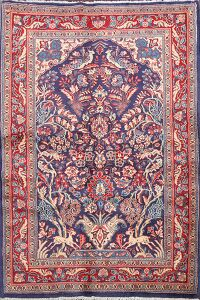 Animal Pictorial Floral Sarouk Persian Area Rug 4x5