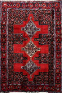 Geometric Red Bidjar Persian Area Rug 4x5
