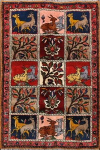Animal Pictorial Bakhtiari Persian Area Rug 3x5