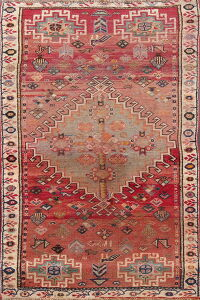Antique Tribal Geometric Shiraz Persian Area Rug 3x5