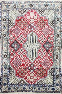 Floral Red Nain Persian Area Rug 3x4