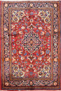 Floral Red Bidjar Persian Area Rug 4x5