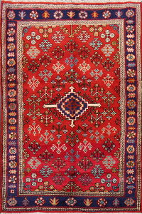 Geometric Red Joshaghan Persian Area Rug 3x5