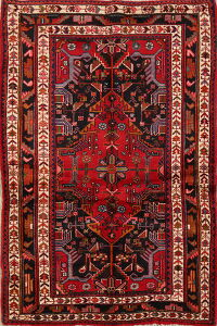 Geometric Red Nahavand Persian Area Rug 4x6
