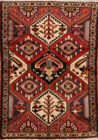 Geometric Red Bakhtiari Persian Area Rug 4x5