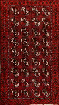 All-Over Red Geometric Balouch Persian Area Rug 3x6