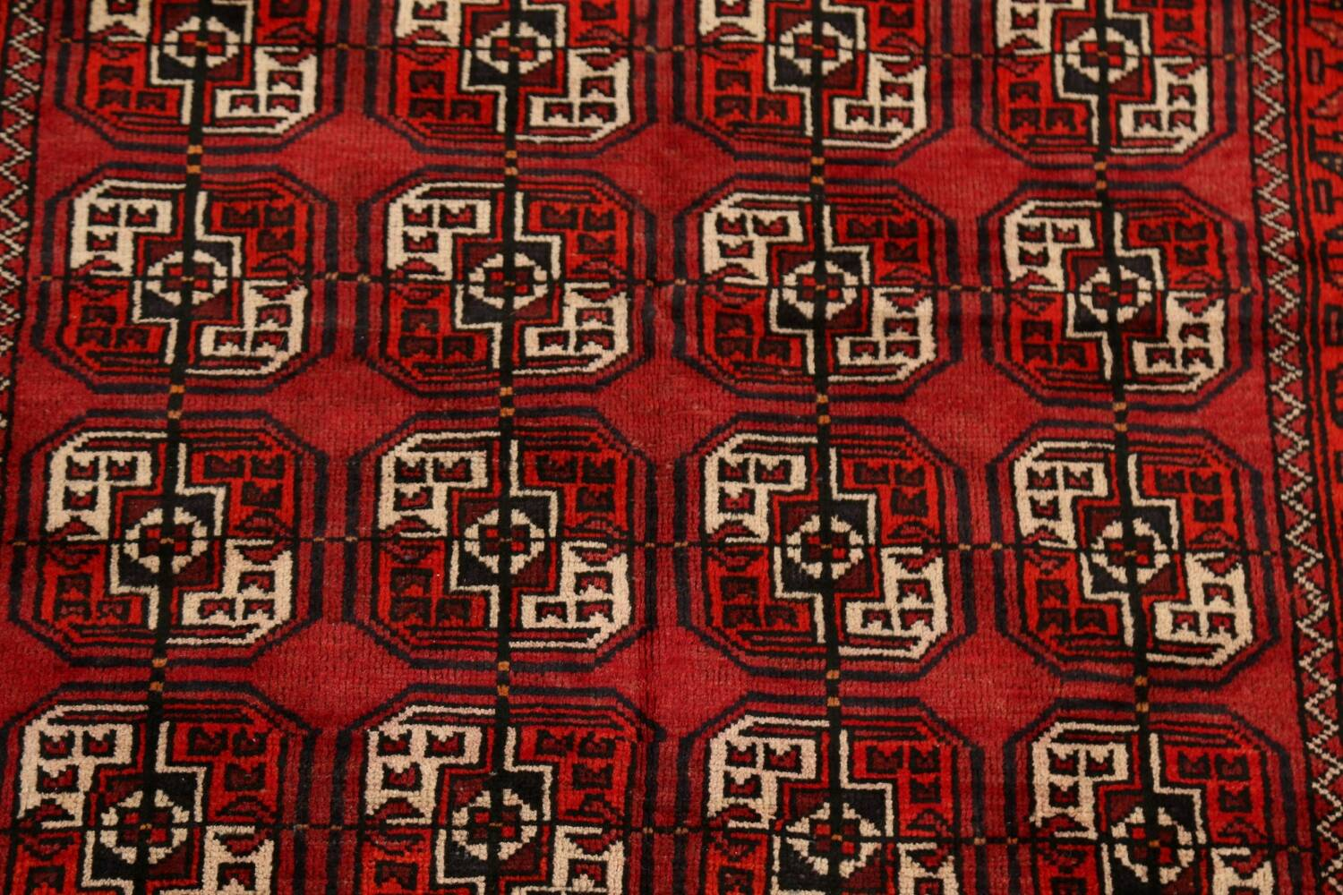 All-Over Red Geometric Balouch Persian Area Rug 3x6 image 4