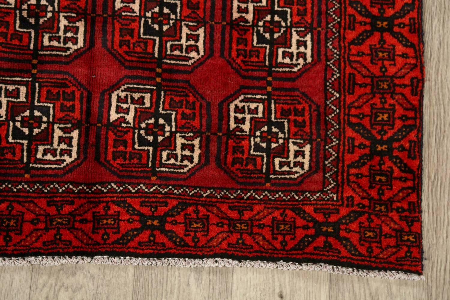 All-Over Red Geometric Balouch Persian Area Rug 3x6 image 5