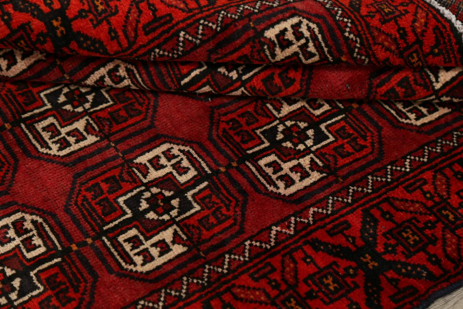 All-Over Red Geometric Balouch Persian Area Rug 3x6 image 17