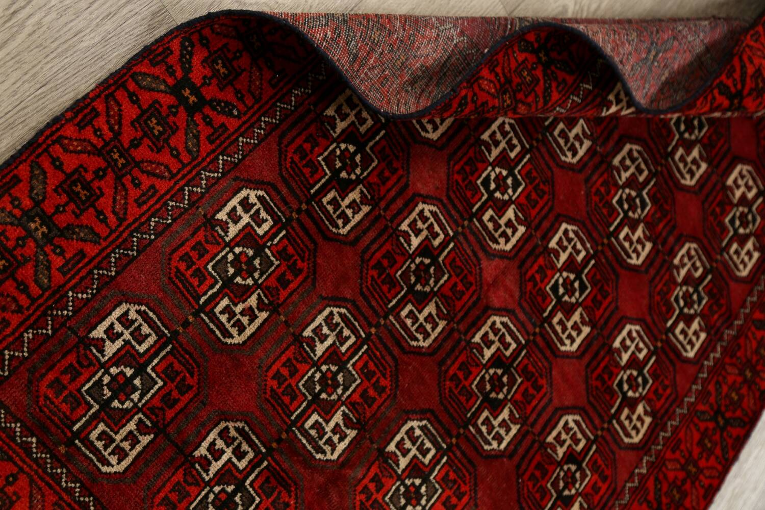 All-Over Red Geometric Balouch Persian Area Rug 3x6 image 18