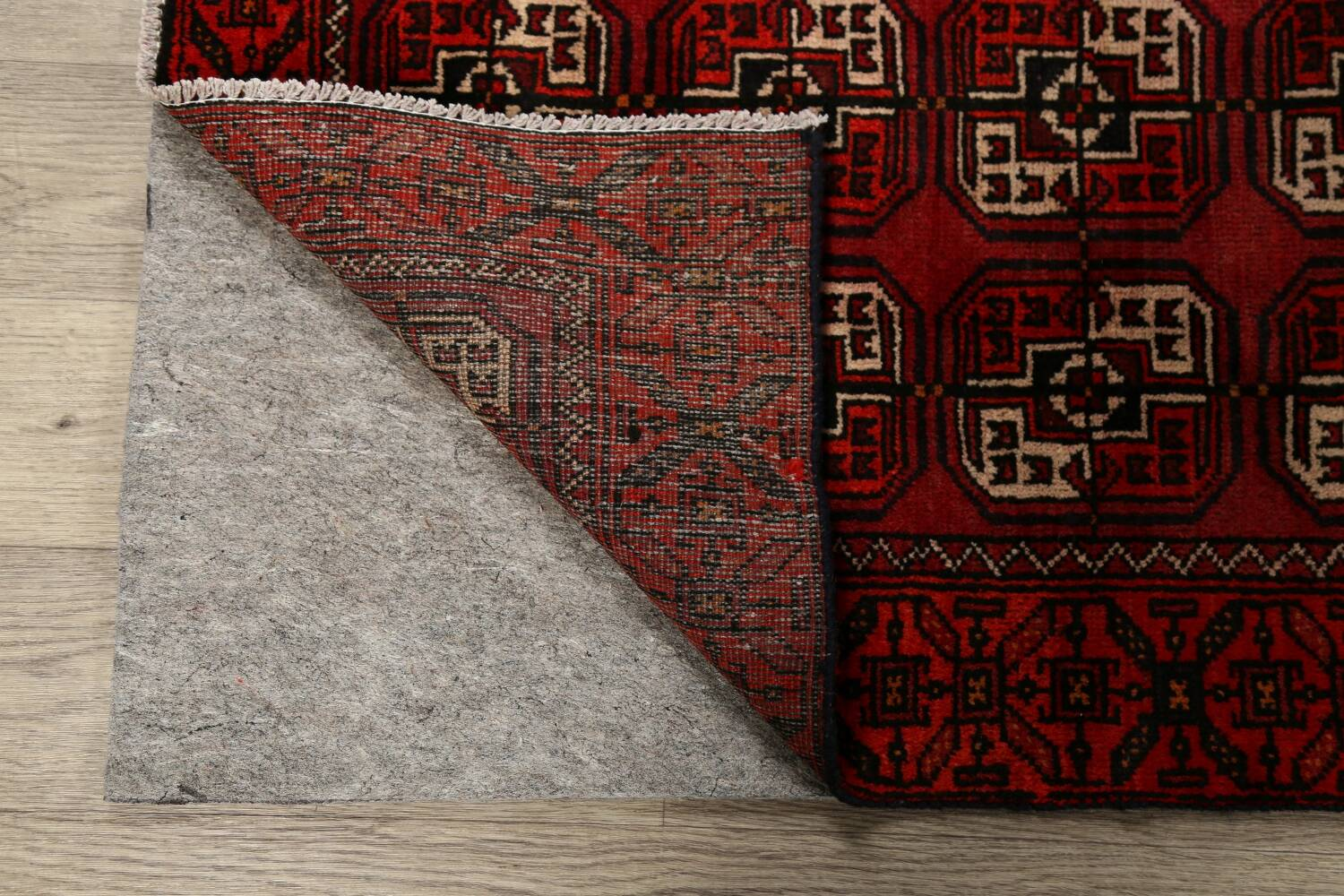 All-Over Red Geometric Balouch Persian Area Rug 3x6 image 7