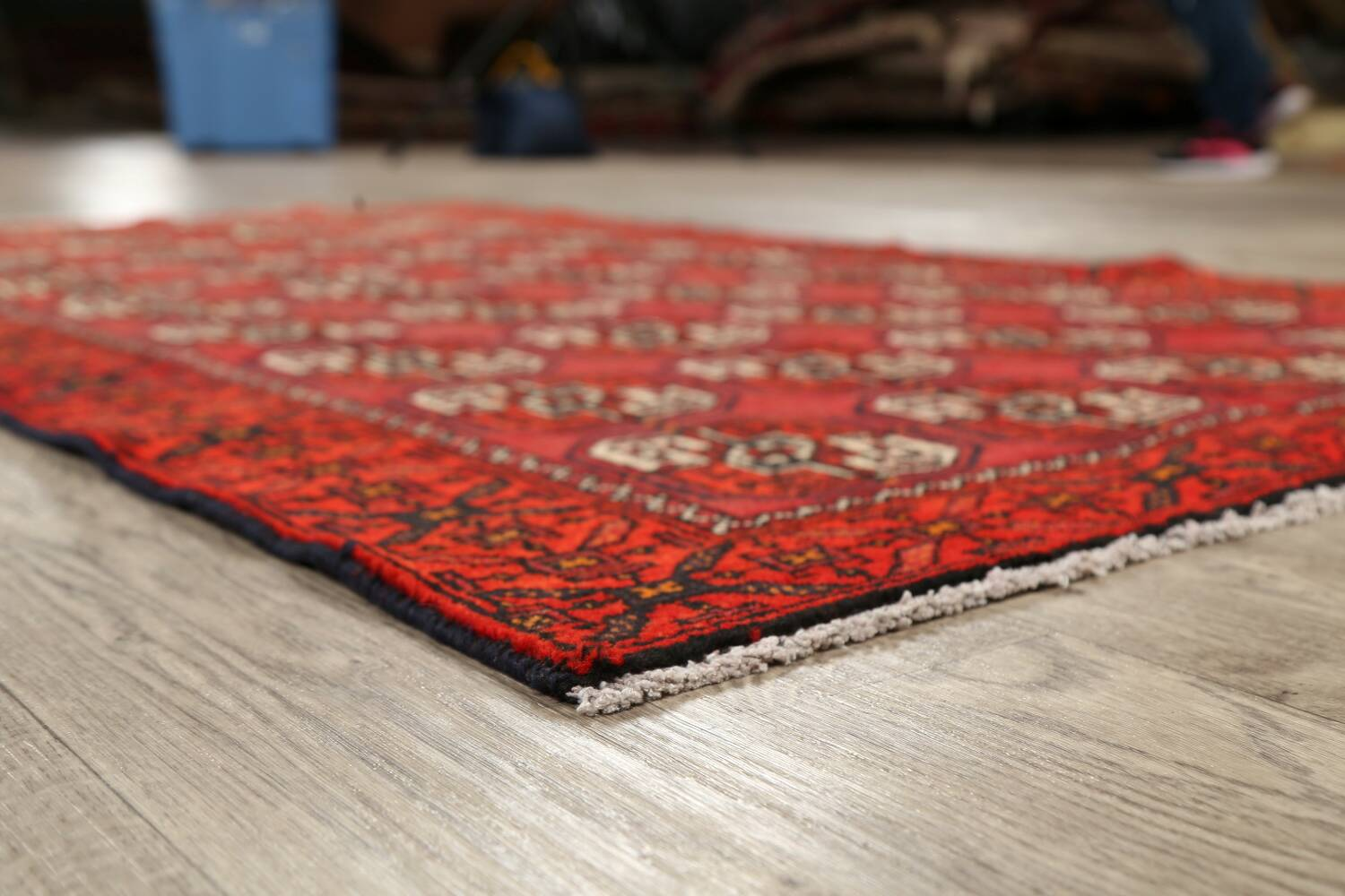 All-Over Red Geometric Balouch Persian Area Rug 3x6 image 6