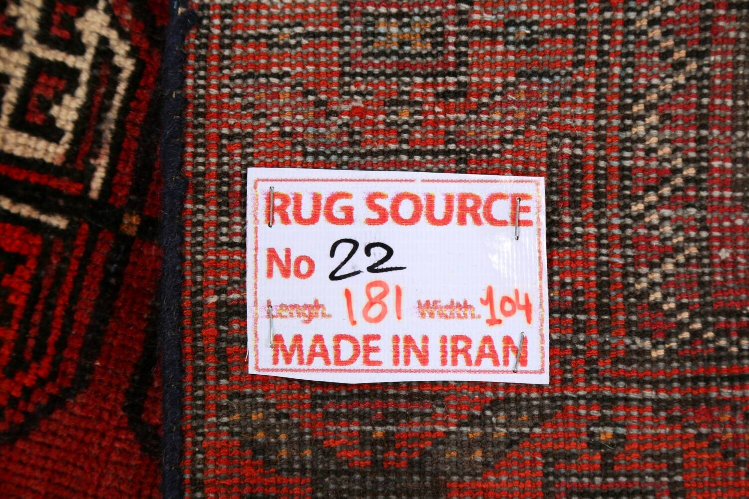 All-Over Red Geometric Balouch Persian Area Rug 3x6 image 22