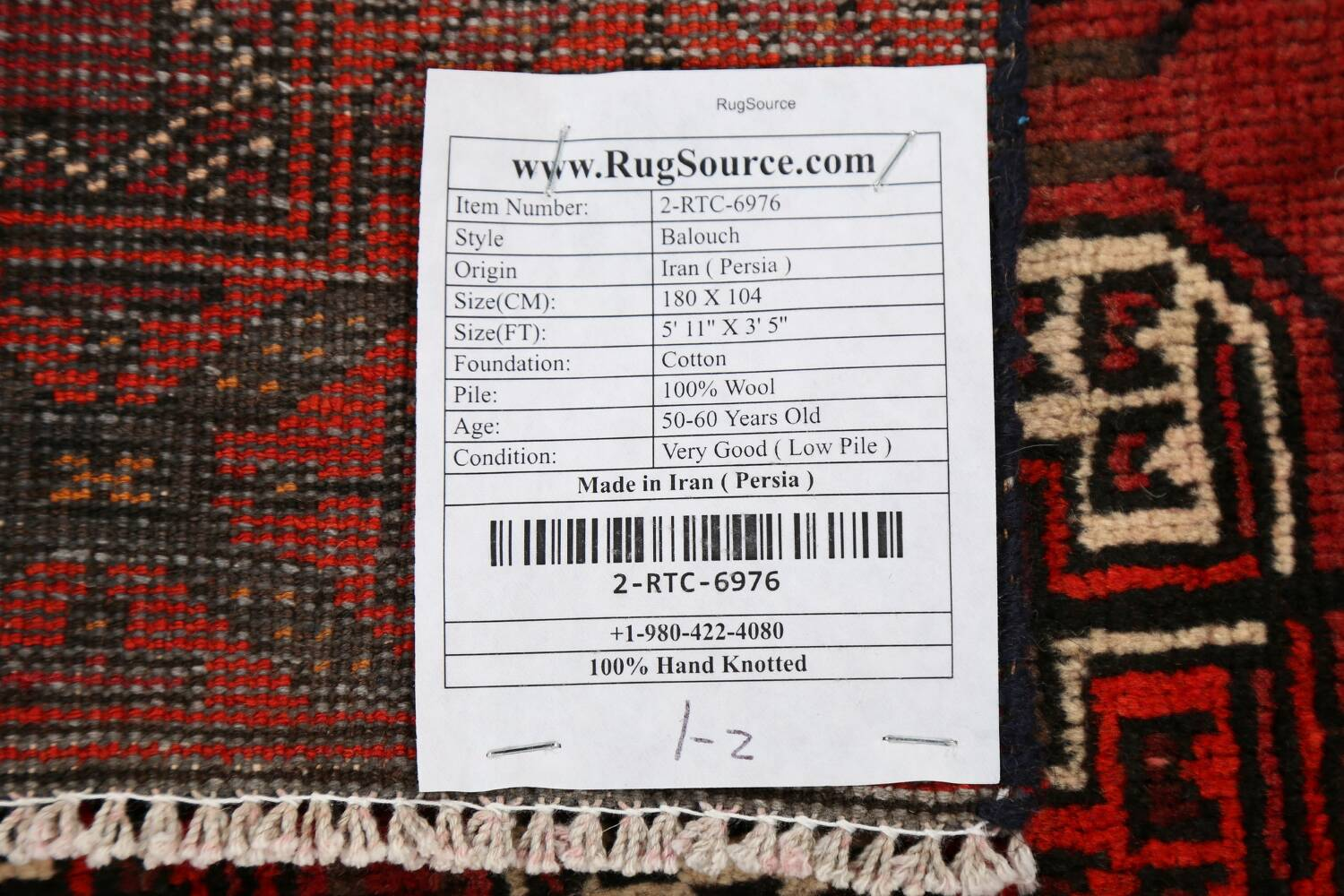 All-Over Red Geometric Balouch Persian Area Rug 3x6 image 23