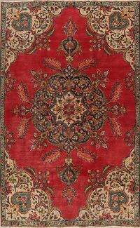 Floral Tabriz Persian Red Area Rug 5x8